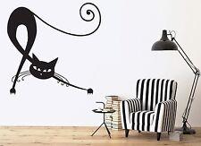 Wall Vinyl Sticker Elegant Beautiful Black Cat Tail Claws Eyes Ears Decor (n371)