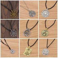 Charms Vintage Slavic Kolovrat Necklace Round Pendant Unisex Chic Gift Jewelry