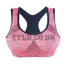 Padded Seamless Crop Athletic Sport Gym Yoga Fitness Bra Top Melange  UK 0296