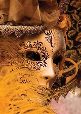 A3/A4 SIZE - VENICE MASQUERADE MASK GOLD GOLDEN NEW ART PRINT POSTER # 29