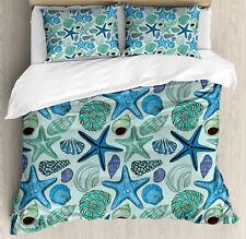 Starfish Duvet Cover Set with Pillow Shams Tropical Shells Print