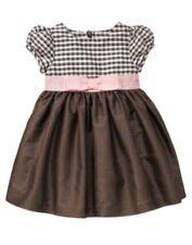 GYMBOREE CELEBRATE SPRING BROWN w/ PINK RIBBON SILK DRESS 12 18 2T 3T 4T 5T NWT
