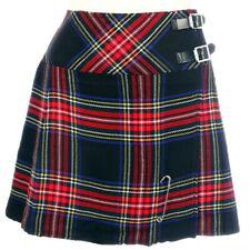 New Ladies Black Stewart Tartan Scottish Mini Billie Kilt Mod Skirt Sizes 6-22UK