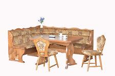 Massivholz Eckbankgruppe Eiche natur / rustikal 206x163 + Ausziehtisch + Stühle