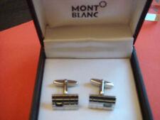 MONTBLANC SILVER ONYX CUFFLINKS IN BOX