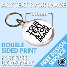 Custom 33mm Round Keyring • Bespoke Personalised Logo • Photo Image Keyrings