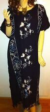 PENANG Long Kaftan Abaya Dress Ladies Oriental Hand Painted Cool Tropical Gown