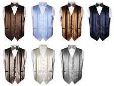 Men's Dress Vest & BOWTIE Solid Color Woven Striped Design Pattern Bow Tie Set