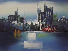 Pintura De Aceite Lienzo Abstracto Rascacielos Edificio Nueva York Arte Original