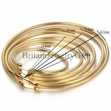 34MM-63MM Women's Gold Tone Stainless Steel Large Round Hoop Dangle Earrings