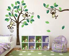 Monkey Tree giraffe Wall Art Stickers Kids Nursery Vinyl Decal removable large s