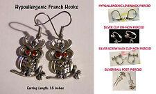 Crystal Owl Earrings-Orange Eyes *OPTIONS* Hypoallergenic OR Clip On Earrings