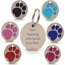 Personnalisé gravé paillettes paw print tag chien chat animaux id tags réfléchissants