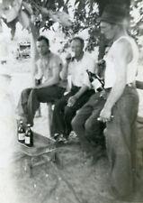 VINTAGE ANTIQUE BEER BOTTLES RED WAGON MEN BREW ALE MALT FOUR GUYS DUDES PHOTO