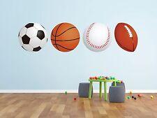 Sports Balls Football Basketball Soccer Baseball Wall Decal Vinyl Nursery Boy Ki