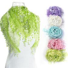 Lace Tassel Sheer Burntout Floral Print Triangle Mantilla Scarf Shawl Pop