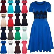 Womens Ladies Cap Sleeve Waist Lace Insert Flared Skater Midi Dress Plus Size