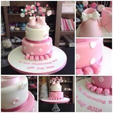 BOOTIES BLOCKS DOT BUTTERFLIES edible Icing Christening 1st Birthday Cake Topper