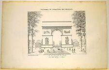 Stampa antica Old Print ARC de TRIOMPHE Champs-Élysée Paris Arco di Trionfo 1822