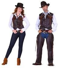 Braune Herren Weste in Wildlederoptik mit Fransen für Cowboy Kostüme