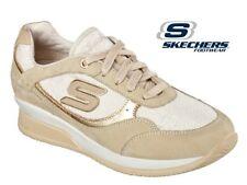 Skechers Wedge Sneakers Fit Vita Metallic Gym Designer Gold Casual Trainers -