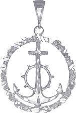 Sterling Silver Anchor Cross Pendant Necklace Nugget Design Diamond Cut Finish