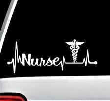 Nurse Heartbeat Lifeline Caduceus Decal Sticker for Car Window 8 Inch BG 179