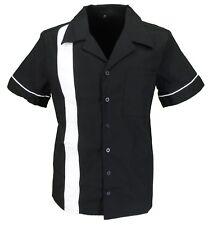 Retro Black/White 1 Stripe Rockabilly Bowling Shirts