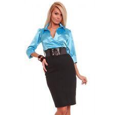474 contraste magnífico largo hasta la Rodilla Azul Claro/Negro Vestido Con Cinturón Talla XS S M