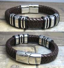 Echtes Leder Armband braun Lederarmband 18-22cm 6x Edelstahl Beads Herren Damen