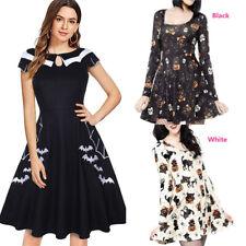 Halloween Vintage Women Long Sleeve Pumpkin Skull Cat Print Mini Dress Costume