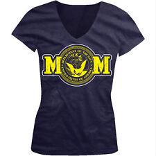 Navy Mom Proud Parent Symbol Mother Eagle Anchor Ship US Juniors V-Neck T-Shirt