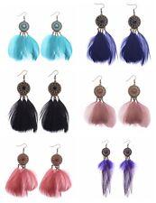 Fashion Vintage Bohemian Boho Feather False Hook Dangle Women Jewelry Earring