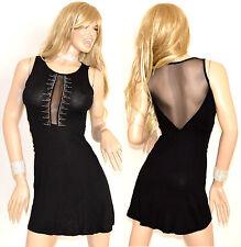 Mini abito nero donna festa party elegante da sera vestito cerimonia strass 75