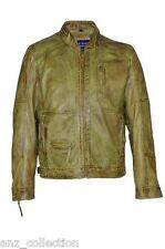 Camicia uomo stile classico Oliva Zip Colletto Designer CERA Casual Soft Leather Jacket