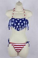 American Flag Fringe Tassel Tie Back Bandeau Bikini Swimsuit Swimwear S M L D32