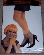 Footless Fishnet stocking & fingerless glove set,orange,costume,Halloween,stage