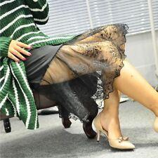 Damen Spitze Slipper Rock Verlängerung Knielang Petticoat Blumenmuster Unterrock