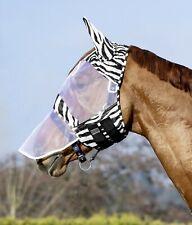 Fliegenmaske, mit Ohrenschutz im Zebra Look, Klettverschluss Pony bis Kalt USG