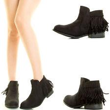 Black Fringe Tassel Low Flat Heel Cowboy Western Womens Short Ankle Boot Booties