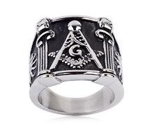 Free Mason Ring - Pillars Face Freemasonry - Steel Silver Color Masonic Rings
