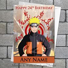 Tarjeta De Cumpleaños Manga: Naruto. Personalizados, además de envolvente.