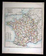 1846 SDUK Map - France Departments  Paris Antique Atlas