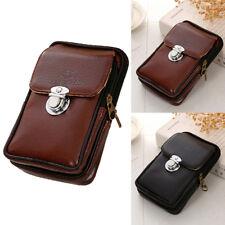 Mens Retro Leather Zipper Tactical Belt Pouch Wallet Fanny Pack Waist Bag
