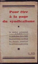 Pour Etre A La Page Du Syndicalisme    1936