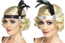 Kopfschmuck Charleston Haarband mit Feder 20er Jahre schwarz od silberfarbig