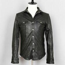 Mens Vintage Black Leather Shirt Jacket Casual Coat