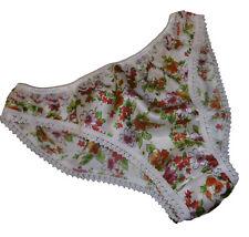 Shiny FLORAL PRINT SATIN ivory lace French BIKINI BRIEF panties knickers XS-XXL