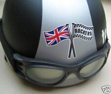 ROCKERS & Union Jack Crossed Flag Helmet STICKER Cafe Racer Triton UK Motorcycle