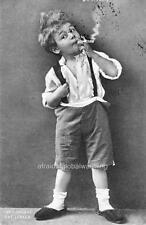 Photo 1911 Boy in Suspenders Smoking a Cigar